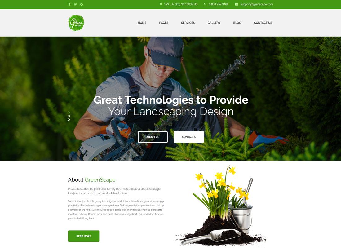 Greenscape - Lawn & Garden Landscaping WordPress Theme