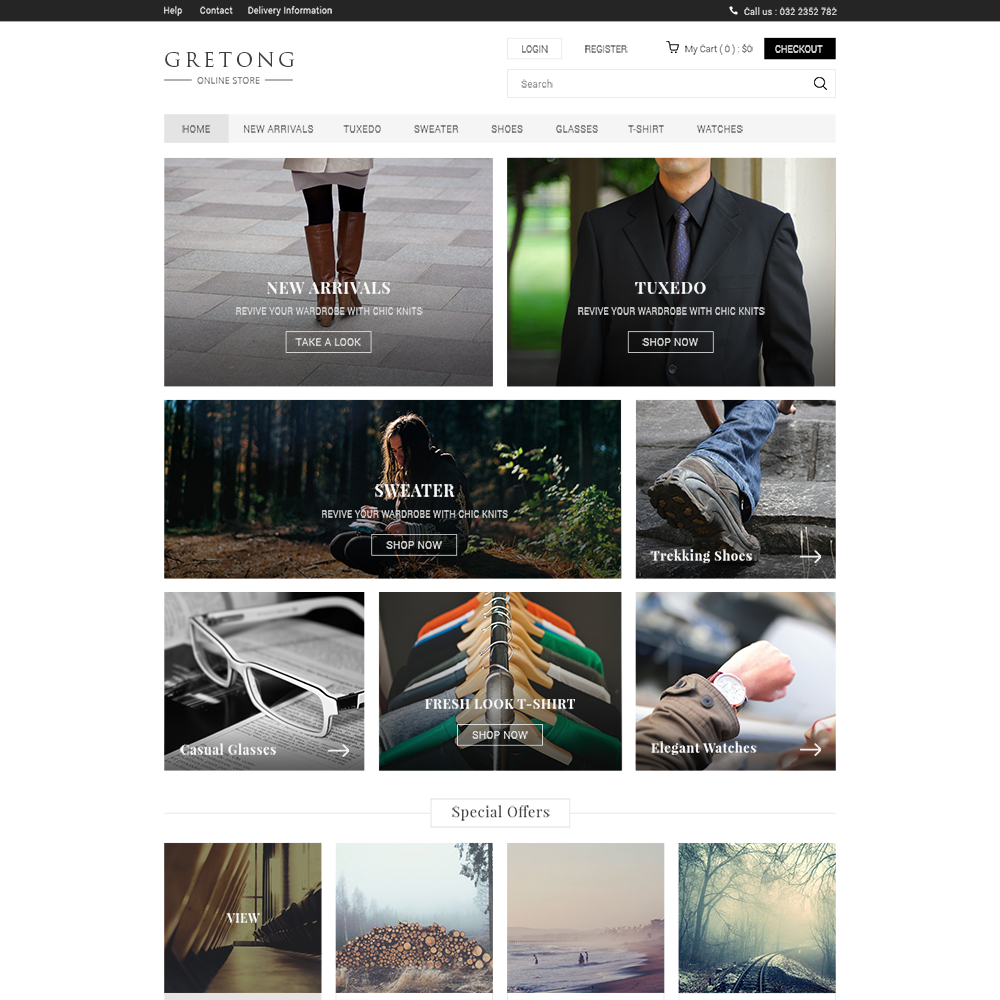 Gretong Free PSD eCommerce Template