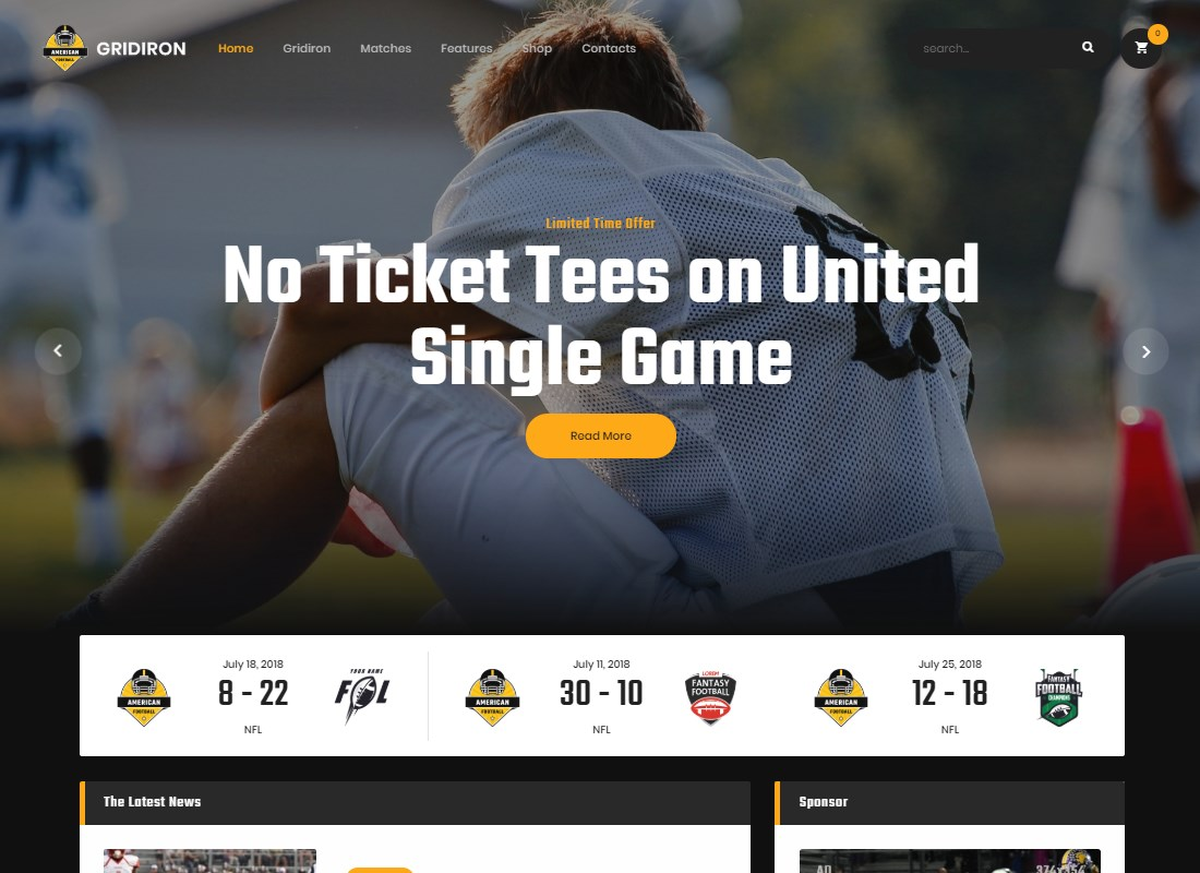 Gridiron | American Football & NFL Team WordPress Theme