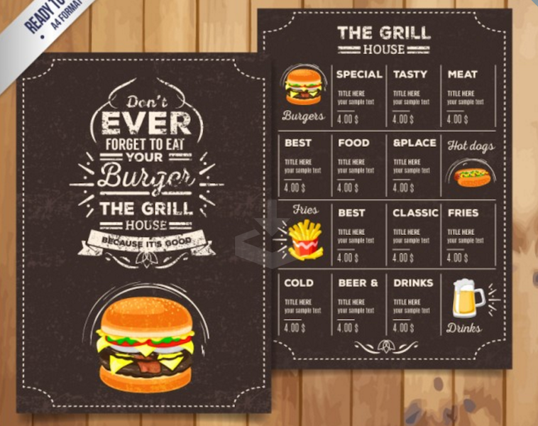 grill restaurant menu in retro style