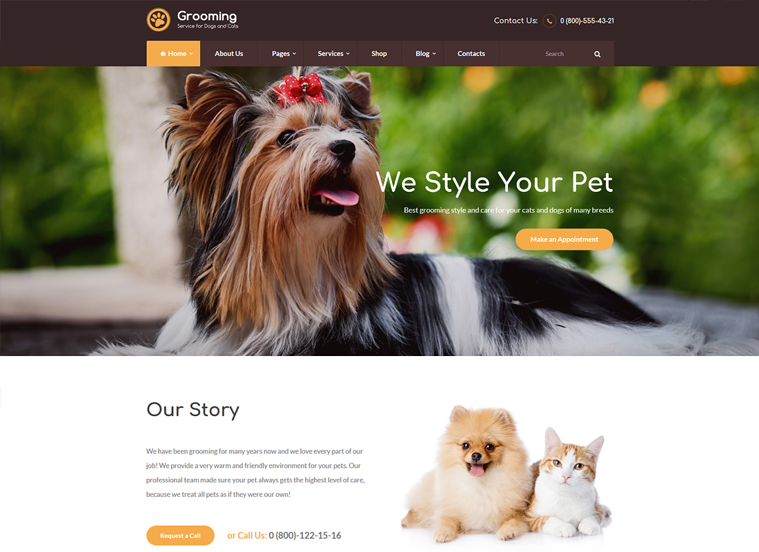 Pet Grooming / Pet Shop / Veterinary WordPress Theme
