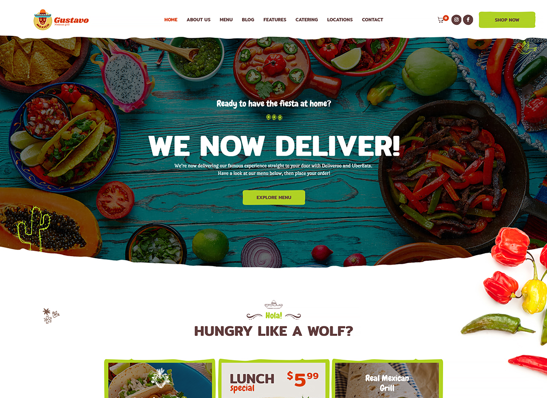 Gustavo - Mexican Grill, Bar & Restaurant WordPress Theme