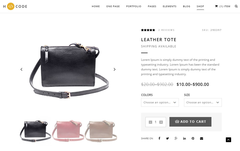 H-Code Theme Review Ecommerce Single Product