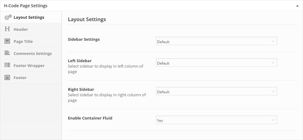 H-Code Theme Review Page Settings