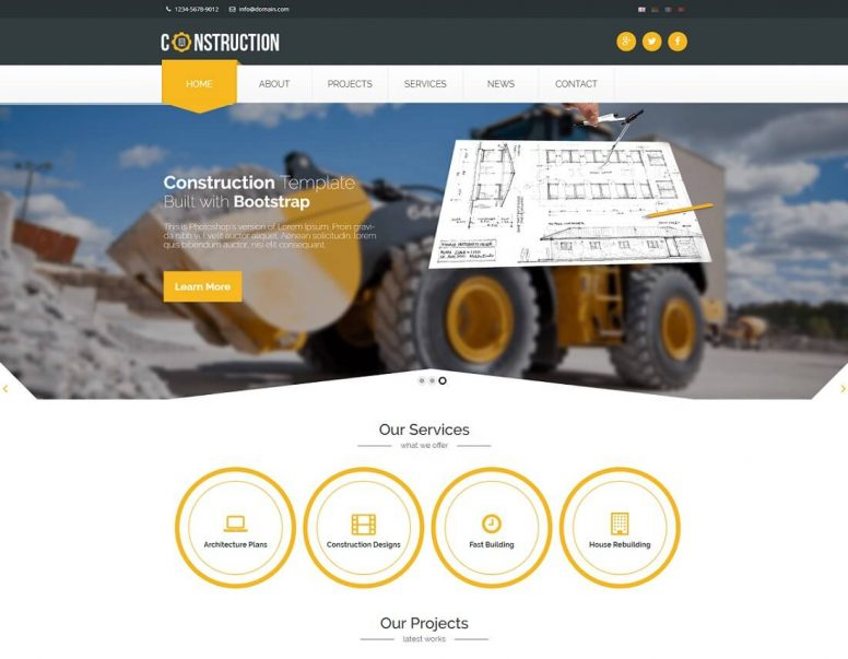 23 Best HTML Construction Company Templates 2018