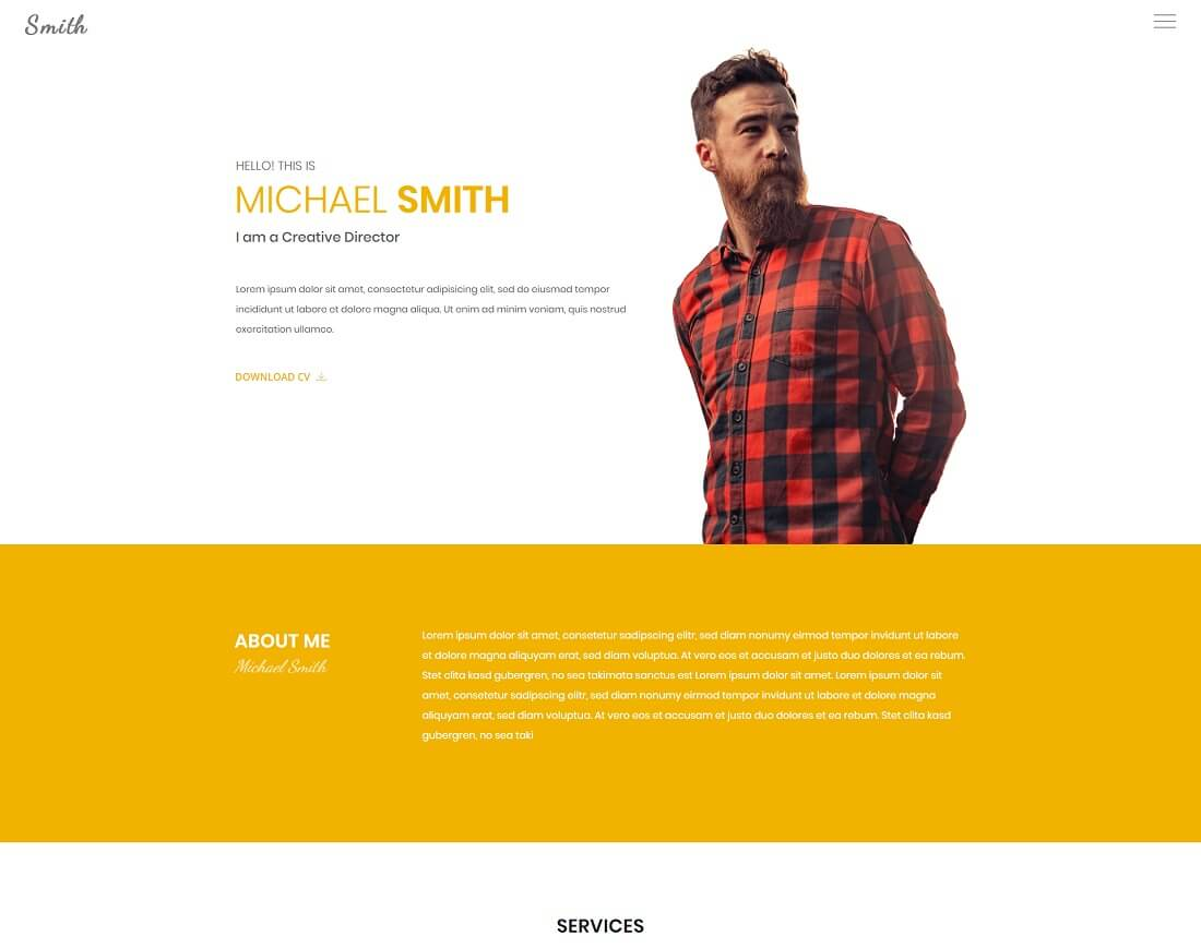 22 popular html resume  u0026 cv website templates 2019
