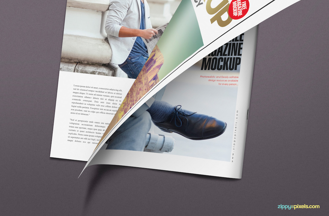 Half-turned-page magazine mockup