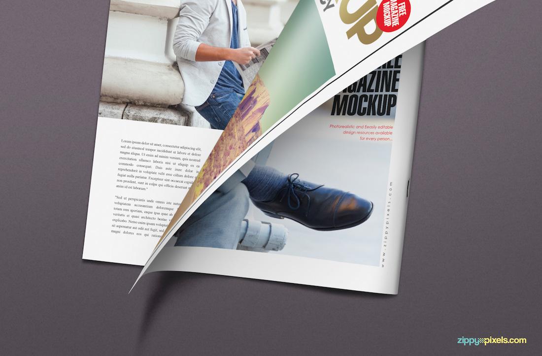 Half-turned-page magazine mockup
