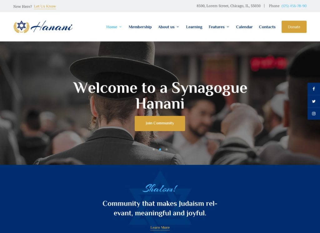 Hanani | Jewish Community & Synagogue WordPress Theme