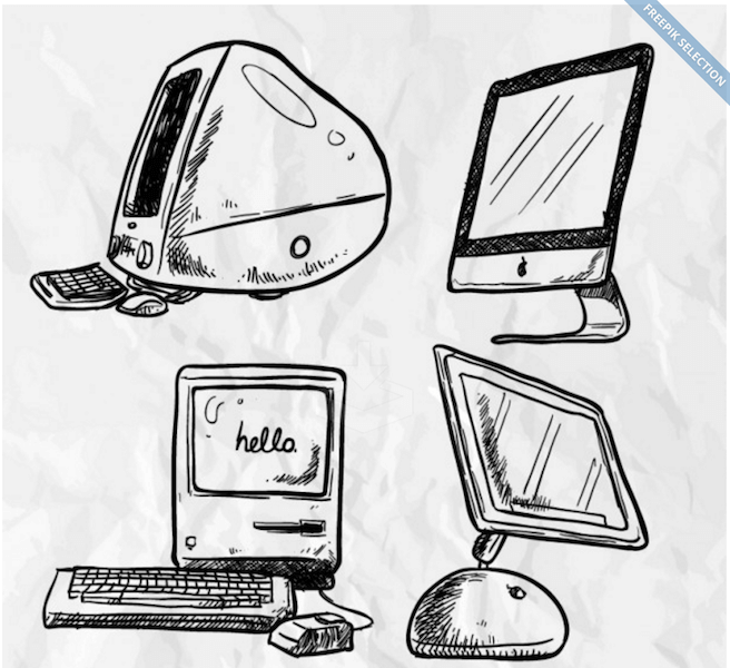 Hand Drawn Apple Computer Vectors
