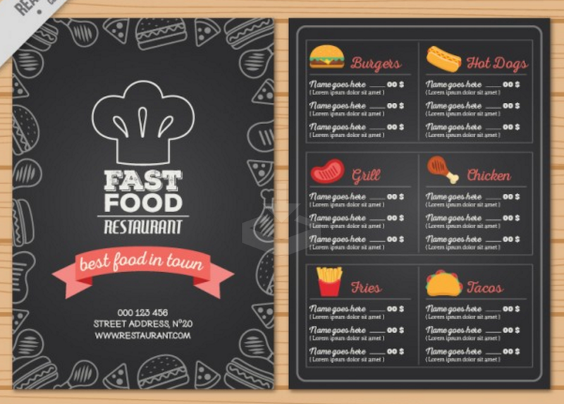 Hand Drawn Fast Food Menu In Blackboard Style  Free Downloadable Restaurant Menu Templates