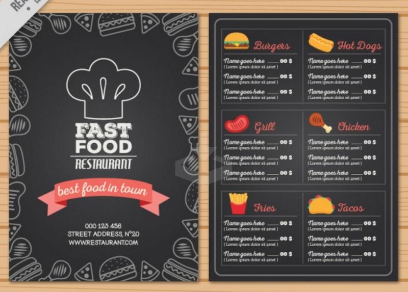 fast food menu templates free download
