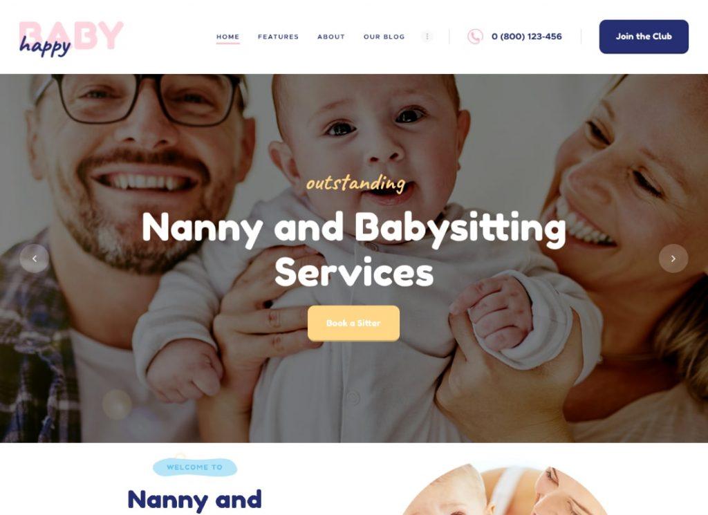 Happy Baby | Nanny & Babysitting Services Children WordPress Theme