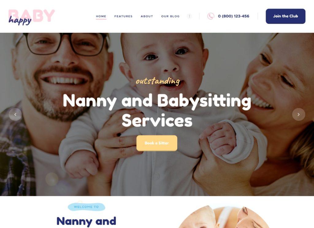 Happy Baby   Nanny & Babysitting Services Children WordPress Theme