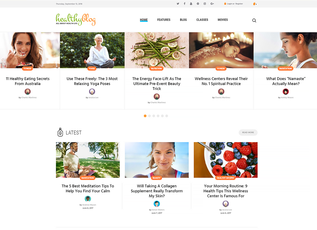 Healthy Living - Blog with Online Store WordPress Theme