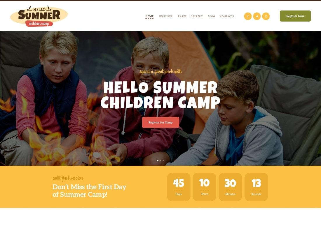 Hello Summer | A Children Summer Camp WordPress Theme