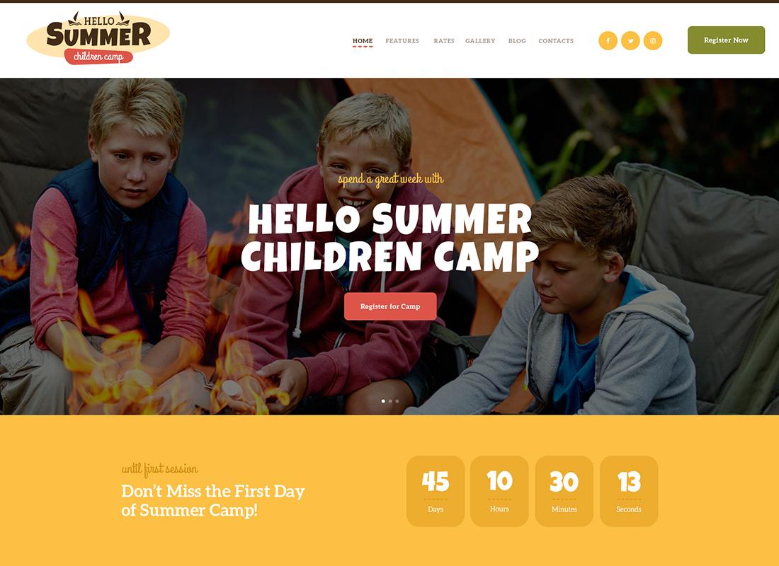 Hello Summer - A Children's Camp WordPress Theme