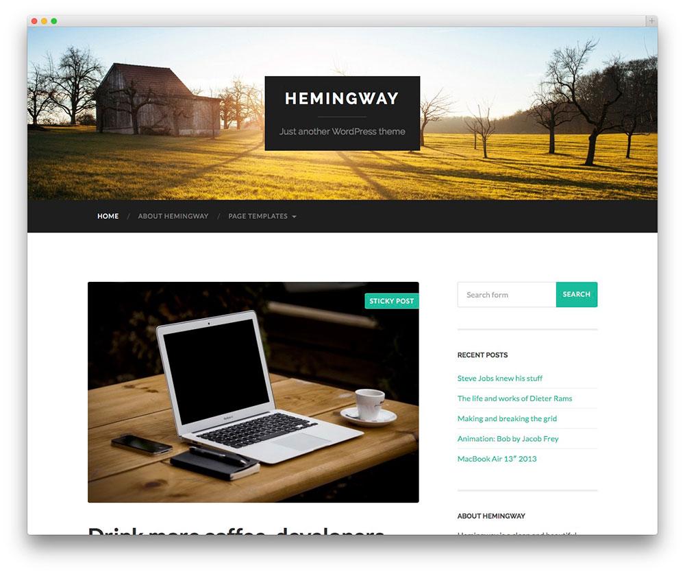 Hemingway - Thème de blog personnel gratuit