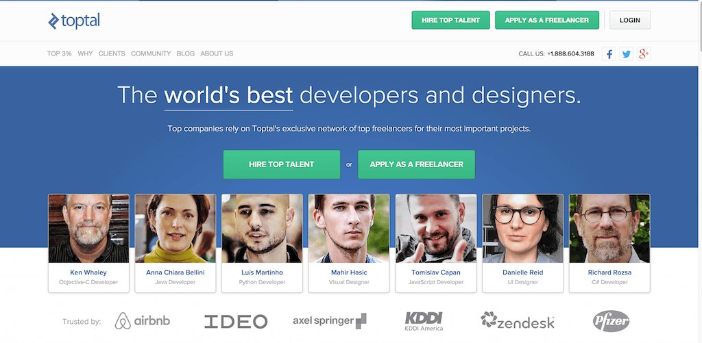 Hire the top 3 of freelance developers designers and other tech talent.