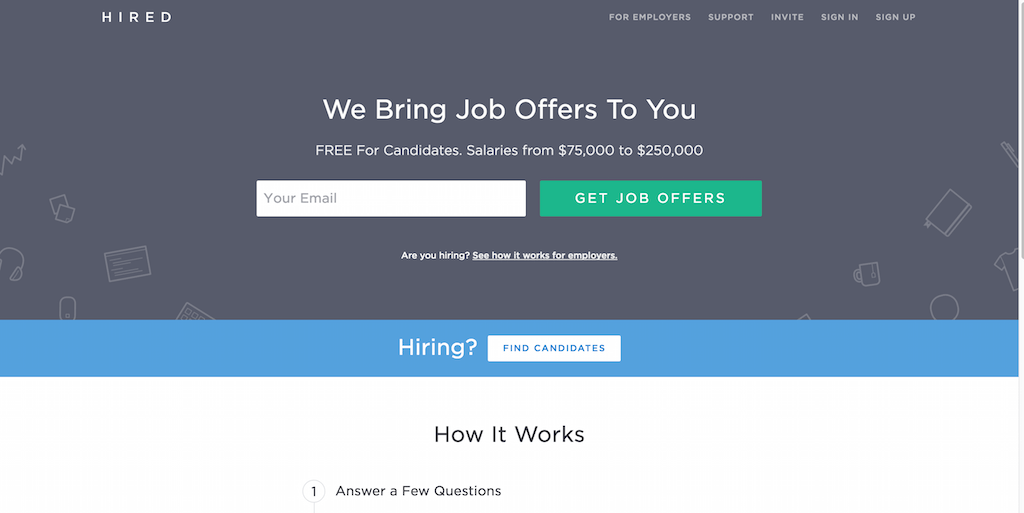 Hired Job Search Marketplace. Job Hunting Simplified