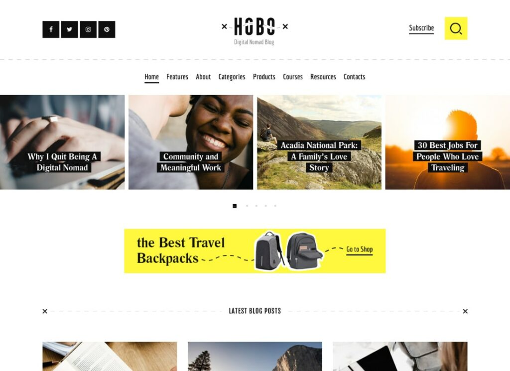 Hobo | Digital Nomad Lifestyle Blog WordPress Theme
