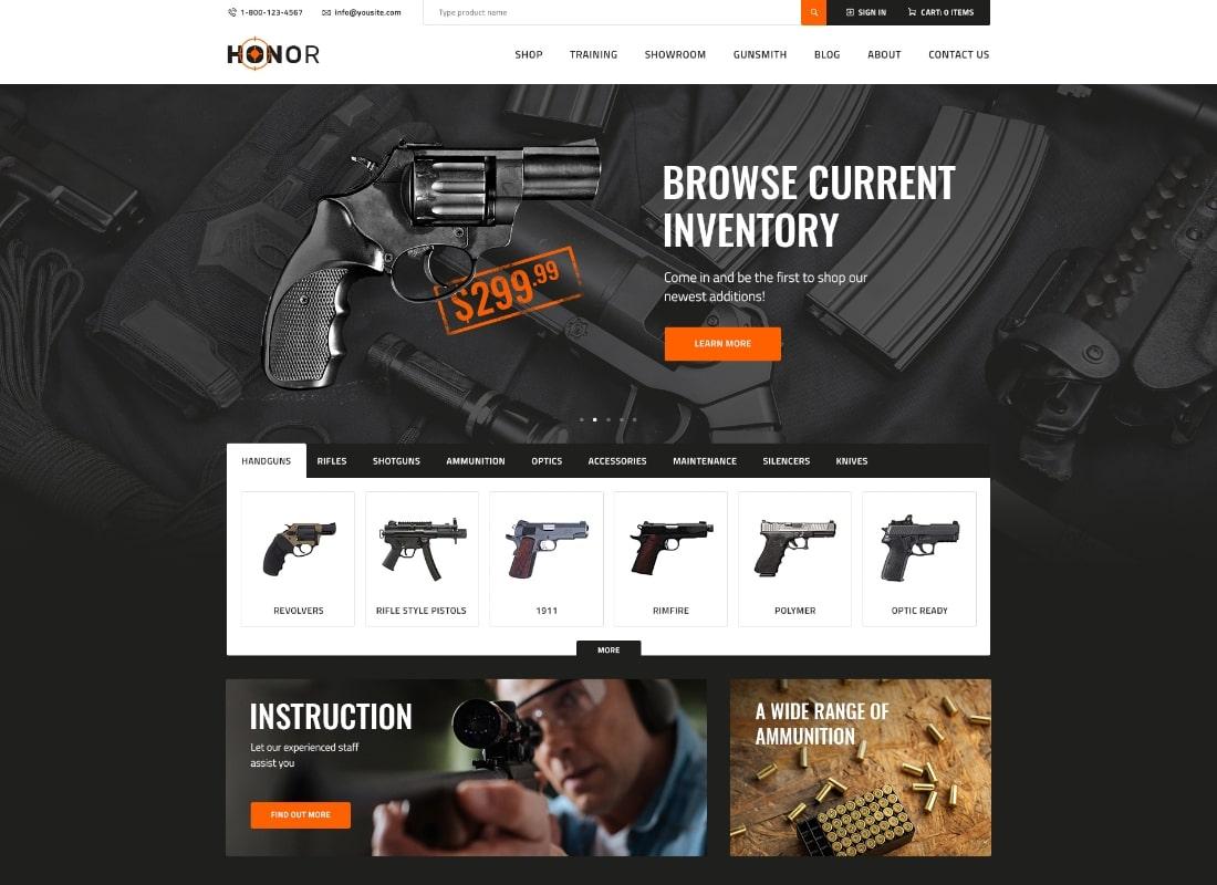 Honor | Shooting Club & Weapon Store WordPress Theme