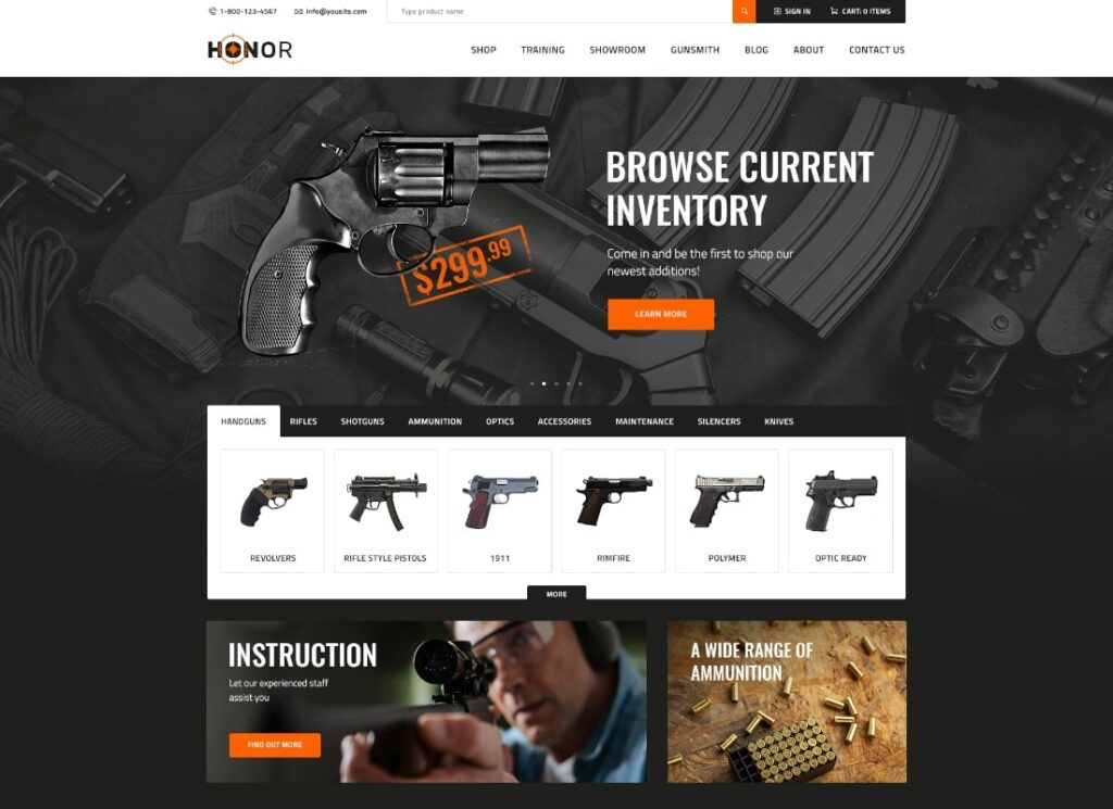 Honor   Multi-Purpose Shooting Club & Weapon Store WordPress Theme + Elementor