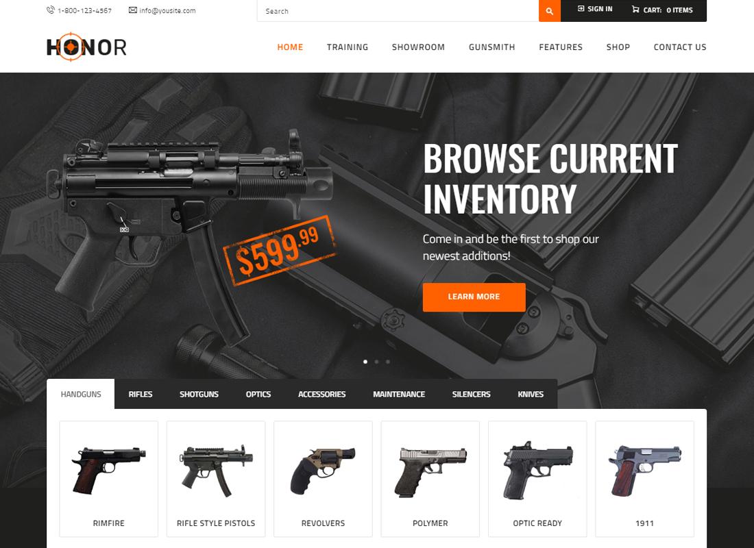 Honor - Shooting Club & Weapon Store WordPress Theme