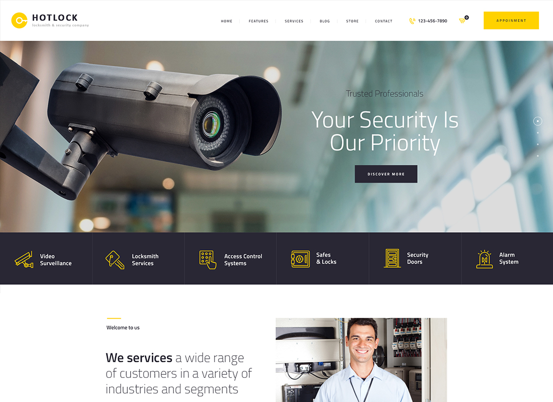 HotLock - Locksmith & Security Systems WordPress Theme