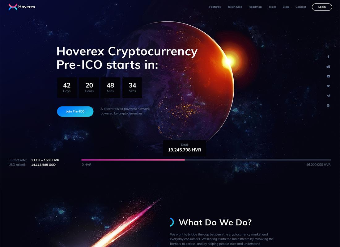 Hoverex - Cryptocurrency & ICO WordPress Theme + Spanish