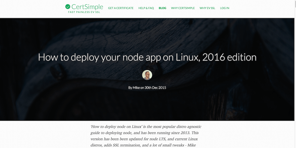 How to deploy your node app on Linux, 2016 edition