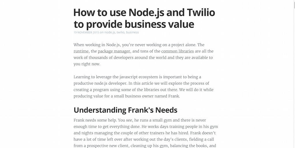 How to use Node.js and Twilio to provide business value