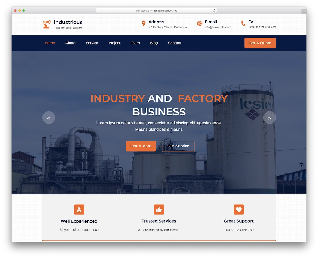 Industrious corporate adobe muse template