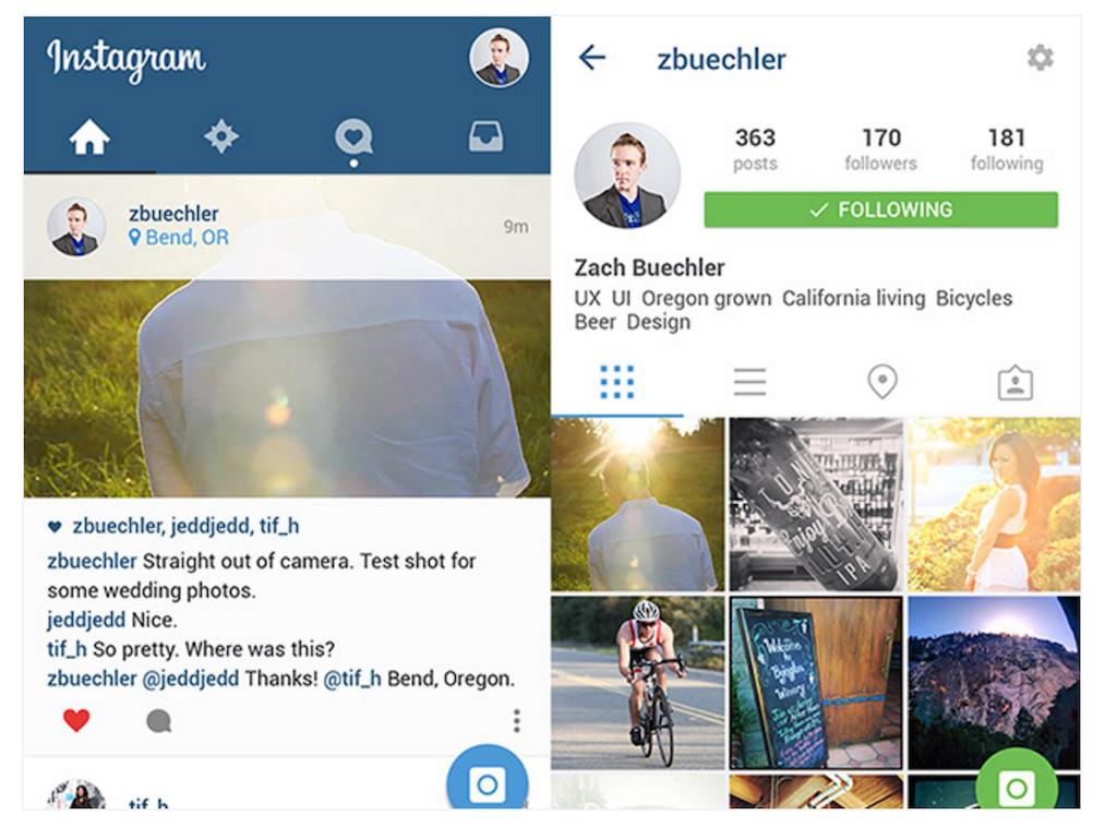 Instagram UI Material Design