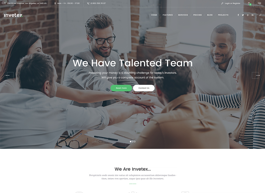 Invetex - Business Consulting & Investments WordPress Theme + RTL