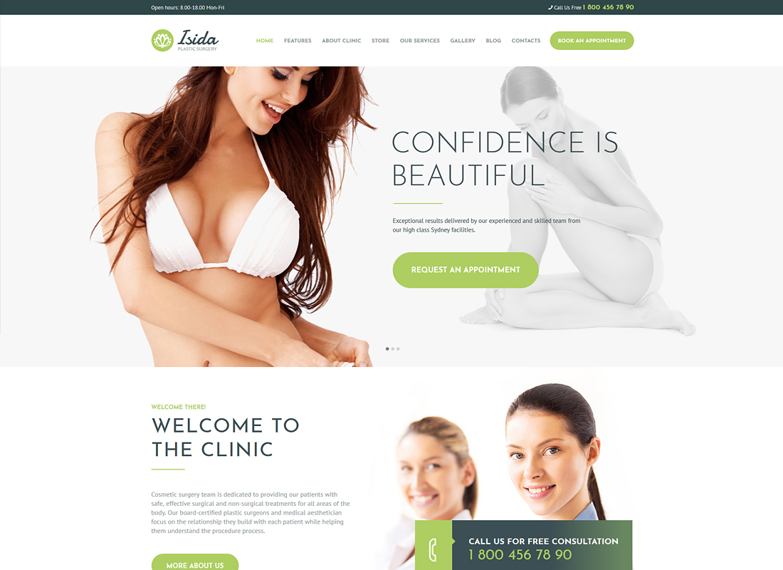 Isida - Plastic Surgery Clinic Medical WordPress Theme