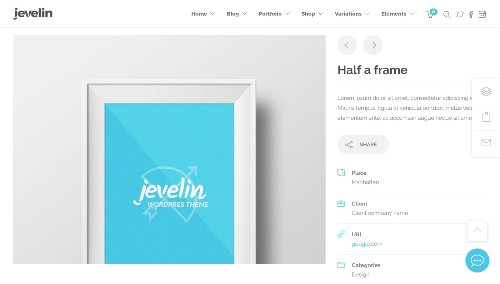 Jevelin Theme Review Portfolio Page