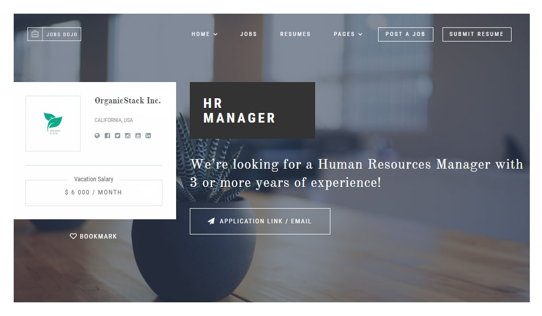 Jobs Dojo Theme Review Job Listing