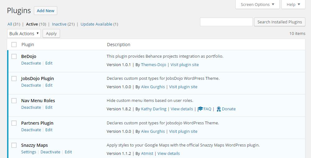 Jobs Dojo Theme Review Plugins