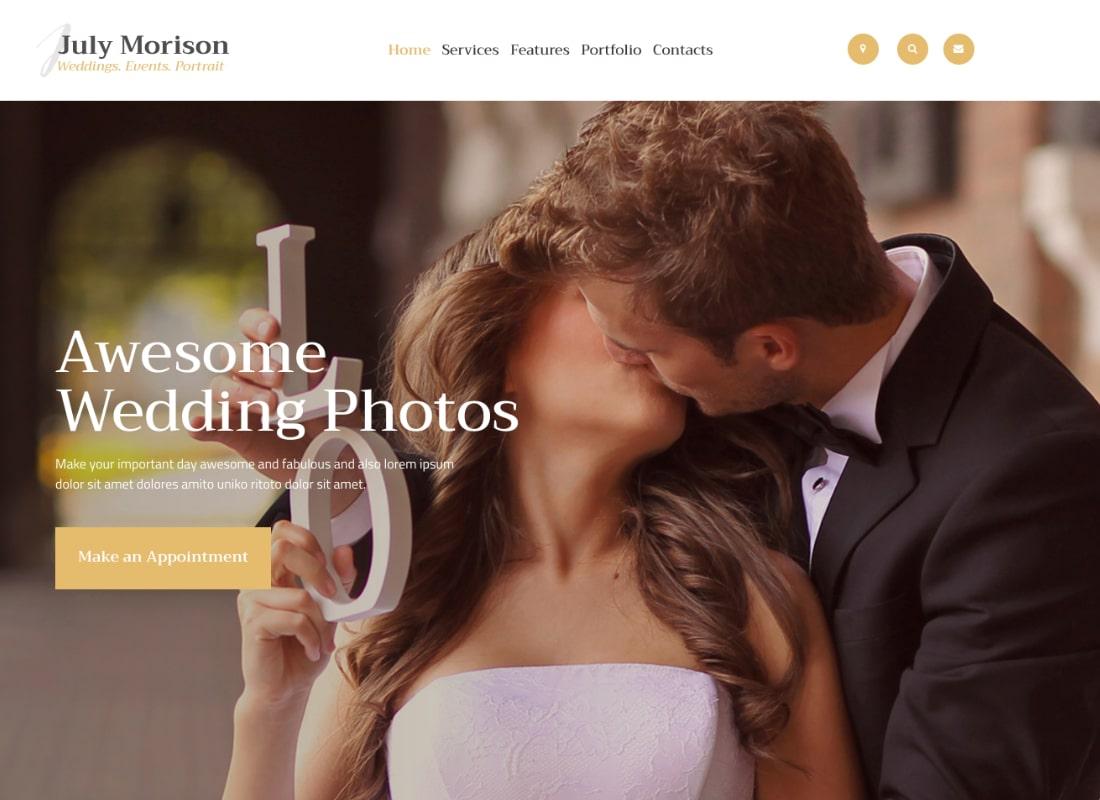 July Morison | An Alluring Event Photographer's Portfolio & Blog WordPress Theme