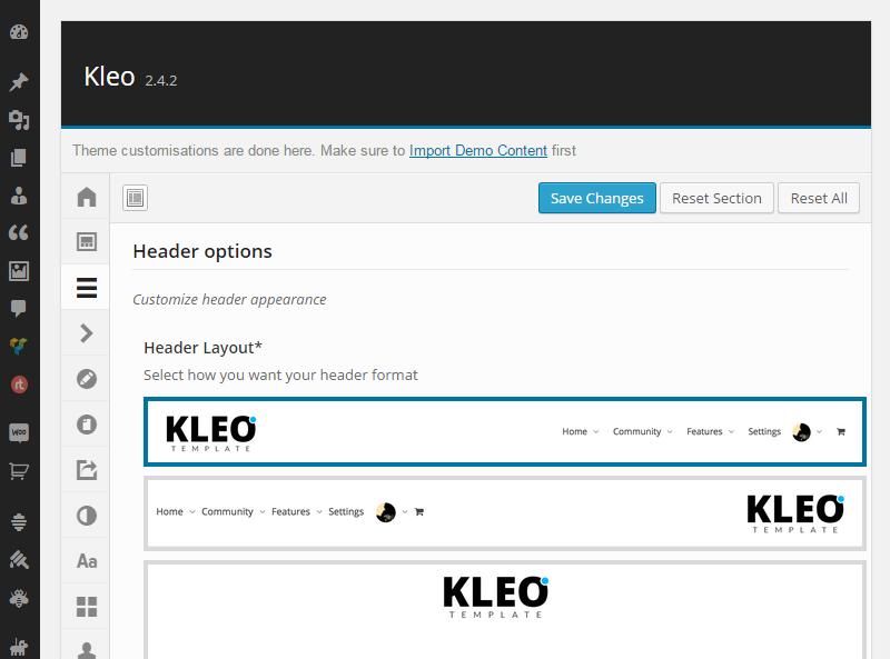 Opciones de tema KLEO