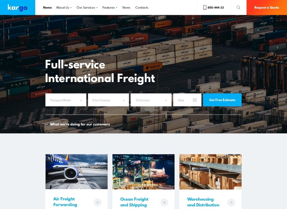 Kargo | Logistics & Transportation PSD Template