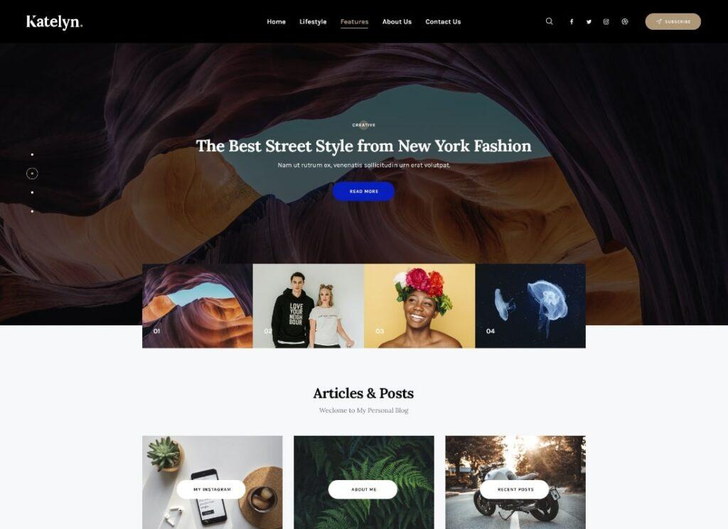 Katelyn   Creative Gutenberg Blog WordPress Theme