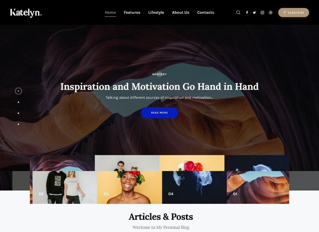 Katelyn | Creative Gutenberg Blog WordPress Theme