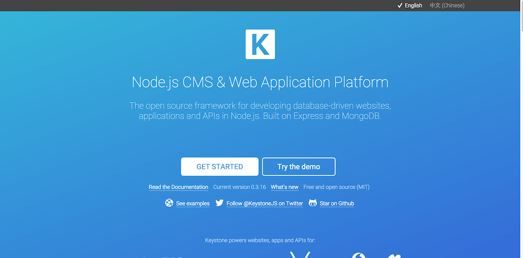 KeystoneJS · Node.js cms and web application platform built on Express and MongoDB