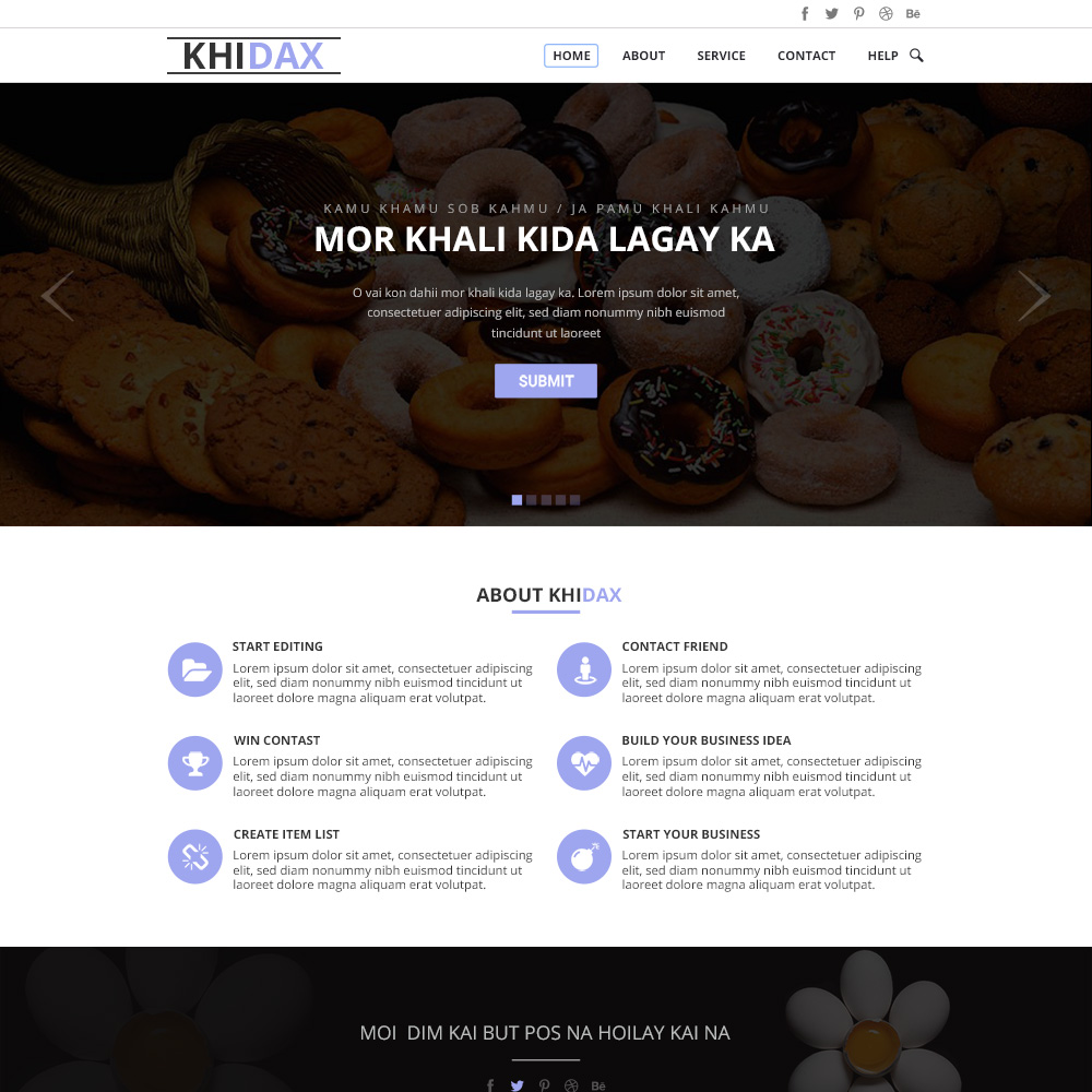Khidax PSD One Page Template