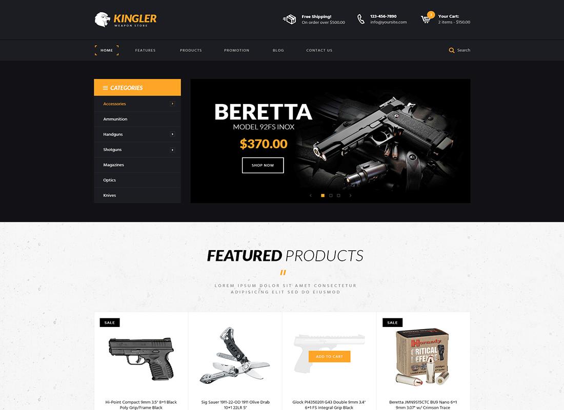Kingler | Weapon Store & Gun Training WordPress Theme
