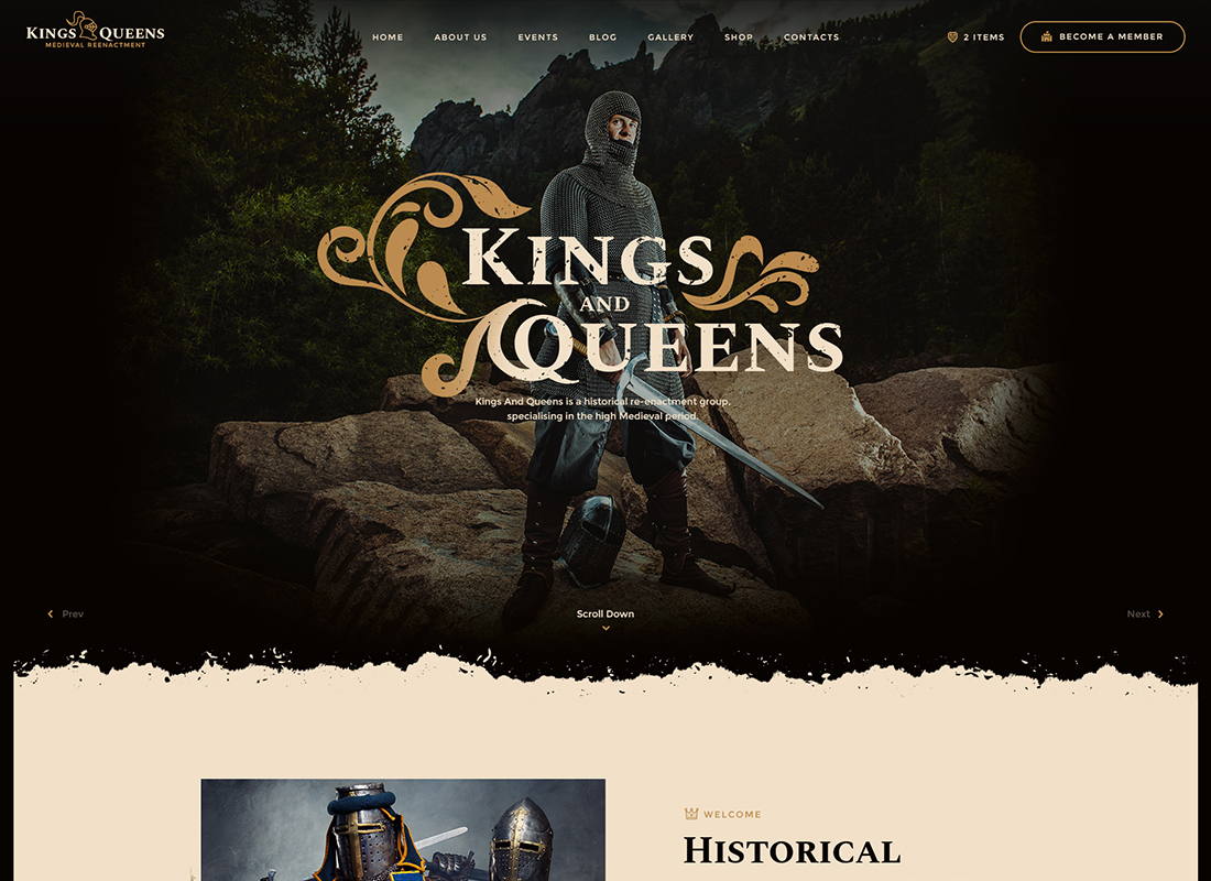 Kings & Queens - Medieval Reenactment WordPress Theme