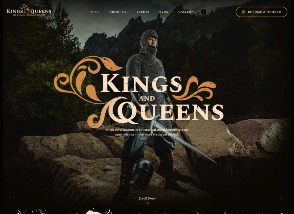 Kings & Queens | Historical War Medieval Reenactment WordPress Theme