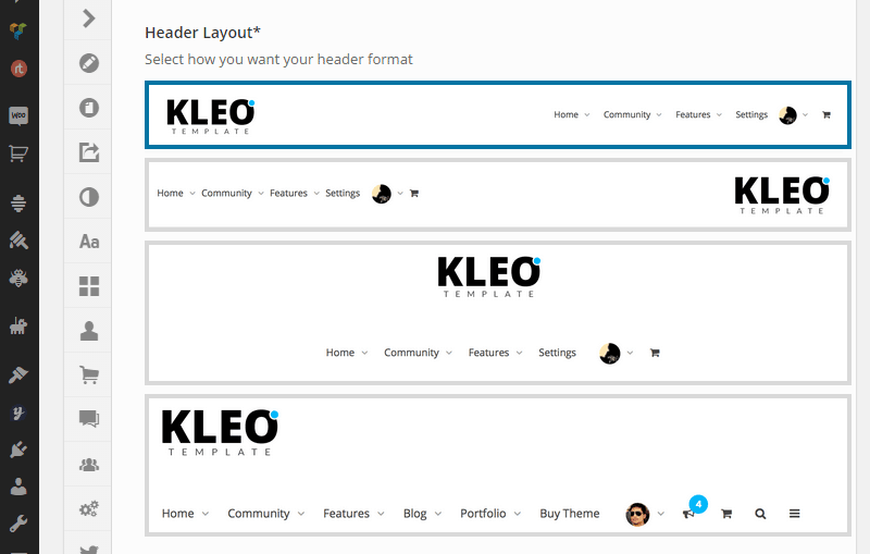 Kleo Header Options